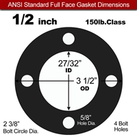 "60 Duro Buna-N Full Face Gasket - 150 Lb. - 1/16"" Thick - 1/2"" Pipe"
