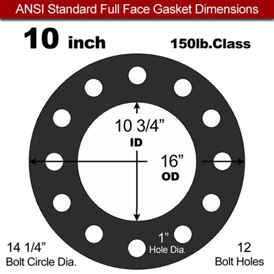 "60 Duro Buna-N Full Face Gasket - 150 Lb. - 1/16"" Thick - 10"" Pipe"