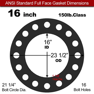 "60 Duro Buna-N Full Face Gasket - 150 Lb. - 1/16"" Thick - 16"" Pipe"