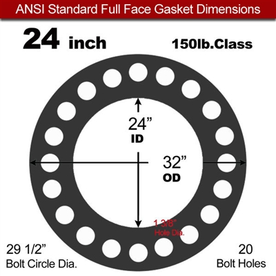 "60 Duro Buna-N Full Face Gasket - 150 Lb. - 1/16"" Thick - 24"" Pipe"