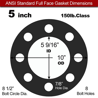 "60 Duro Buna-N Full Face Gasket - 150 Lb. - 1/16"" Thick - 5"" Pipe"