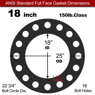"60 Duro Buna-N Full Face Gasket - 150 Lb. - 1/8"" Thick - 18"" Pipe"