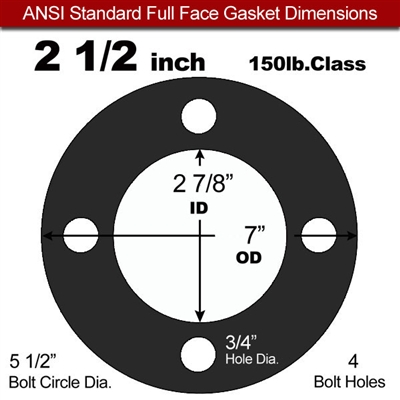 "60 Duro Buna-N Full Face Gasket - 150 Lb. - 1/8"" Thick - 2-1/2"" Pipe"
