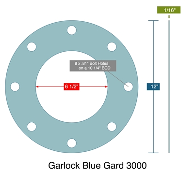 "Garlock Blue-Gard® 3000 Custom FF Gasket - 1/16"" x 6.5"" x 12"" (8, 13/16"" BH on 10.25"" BC)"