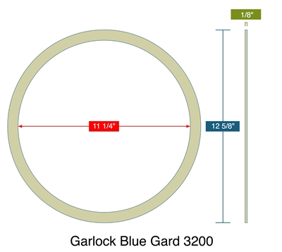 "Garlock 3200 - Ring Gasket- 1/8"" Thick - 12.625"" OD x 11.25"" ID"