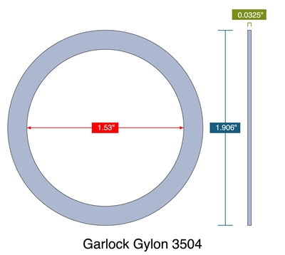 "Garlock Gylon® 3504 Blue PTFE Ring - 1.53"" ID x 1.906"" OD x 1/32"" Thick"