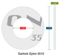 "Garlock Gylon® 3510 Custom Ring Gasket - .866"" ID x 1.77"" OD - 1/16"" Thick"