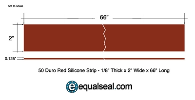 "50 Duro Red Silicone Rubber Custom Strip - 1/8"" Thick x 2"" Wide x 66"" Long"