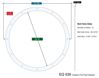 "Equalseal EQ 535 Custom Full Face Gasket - 24"" x 27"" x 1/8"""