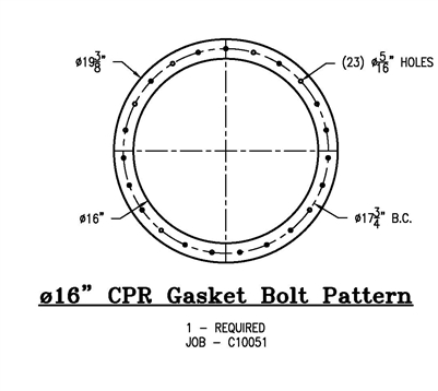 "Equalseal EQ 535 Custom Full Face Gasket - 16"" ID x 19.375"" OD x 1/8"" Thick (23) 5/16"" Holes On 17.75"" BC"