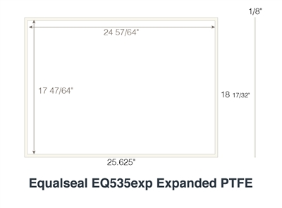 "Equalseal EQ 535 Custom Rectangular Gasket - 1/8"" thick - 25.625"" x 18 17/32"" Outside Dimensions - 24 57/64"" x 17 47/64 Inside Dimension"