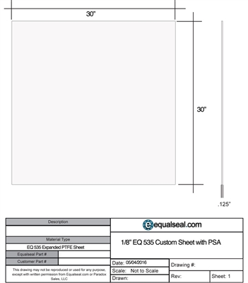 "Equalseal EQ 535 Custom Sheet - 1.25"" x 30"" x 30"" with PSA"