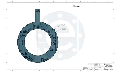 "Garlock Blue-Gard 3000 - Tabbed Ring Gasket - 1/16"" Thick - 5"" - 300 lb. PSA one side for strainers"