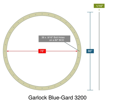 "Garlock Blue-Gard 3200 - Full Face Gasket -  1/16"" Thick - 78"" ID - 86"" OD - 36 x .5625"" Holes on a 82"" Bolt Circle Diameter"