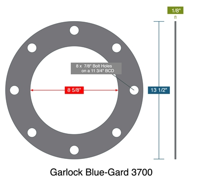 "Garlock Blue-Gard 3700 - Full Face Gasket -  1/8"" Thick - 150 Lb - 8"""