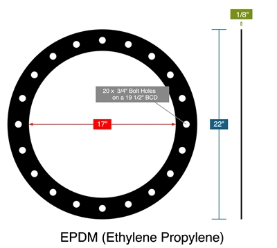 "EPDM (Ethylene Propylene) - Full Face Gasket -  1/8"" Thick - 17"" ID - 22"" OD - 20 x .75"" Holes on a 19.5"" Bolt Circle Diameter"