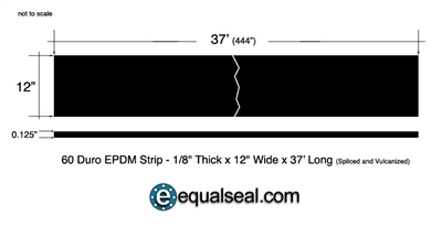 "60 Duro EPDM Rubber Strip - 1/8"" Thick x 12"" x 37' - Spliced and Vulcanized"