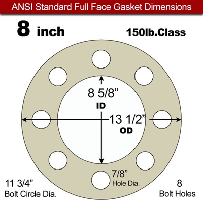 "Equalseal EQ MicaSeal & Tang Core 1832T Full Face Gasket - 150 Lb. - 1/8"" Thick - 8"" Pipe"