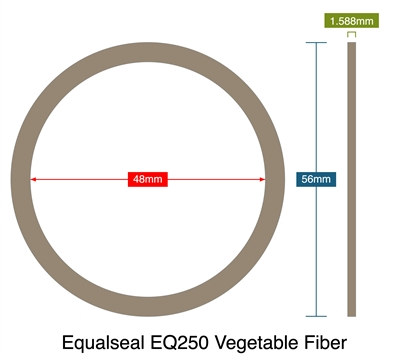 Equalseal EQ250 Vegetable Fiber - 1.59mm Thick - Ring Gasket - 48mm ID - 56mm OD