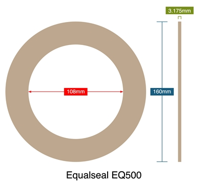 Equalseal EQ500 - Ring Gasket - 3.18mm Thick - 108mm ID - 160mm OD