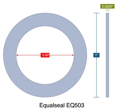 "Equalseal EQ503 - Ring Gasket - 0.0325"" Thick - .69"" ID - 1"" OD"