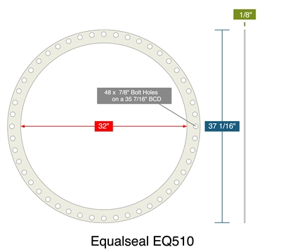 "Equalseal EQ510 - Full Face Gasket -  1/8"" Thick - 32"" ID - 37.0625"" OD - 48 x 0.875"" Holes on a 35.4375"" Bolt Circle Diameter"