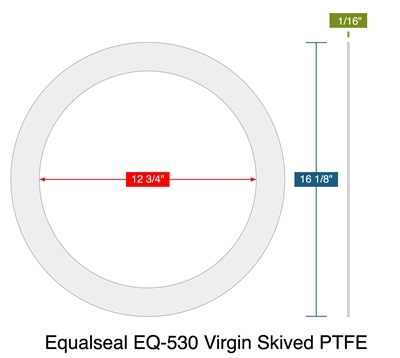 "Equalseal EQ-530 Virgin Skived PTFE - Ring Gasket -  1/16"" Thick - 150 Lb - 12"""