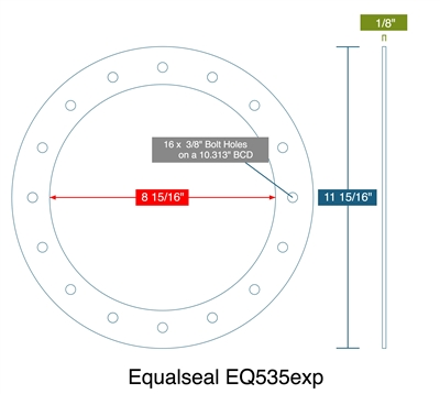 "Equalseal EQ 535exp Custom Full Face Gasket - 8-15/16"" ID x 11-15/16"" OD x 1/8"" Thick (16) 3/8"" Holes On 10-5/16"" BC"