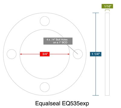 "Equalseal EQ535exp -  1/16"" Thick - Full Face Gasket - .75"" ID - 1.25"" OD - 4 x .14"" Holes on a 1"" Bolt Circle Diameter"