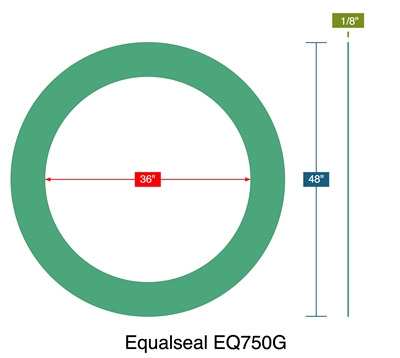 "Equalseal EQ750G - Ring Gasket -  1/8"" Thick - 36"" ID - 48"" OD"