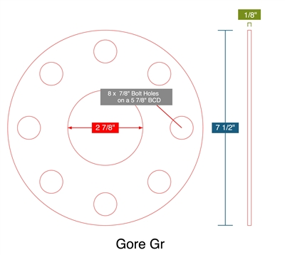 "Gore Gr - Full Face Gasket -  1/8"" Thick - 2.875"" ID - 7.5"" OD - 8 x 0.875"" Holes on a 5.875"" Bolt Circle Diameter"
