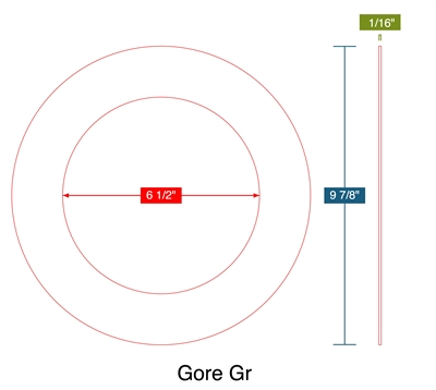 "Gore Gr - Ring Gasket -  1/16"" Thick - 6.5"" ID - 9.875"" OD"