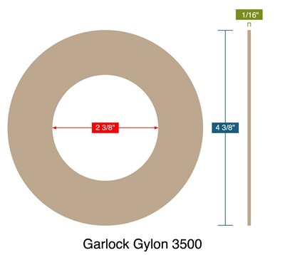 "Garlock Gylon 3500 - Ring Gasket -  1/16"" Thick - 2.375"" ID - 4.375"" OD"