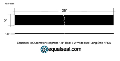 "70 Duro Neoprene Strip - 1/8"" Thick x 2"" x 25' with PSA"