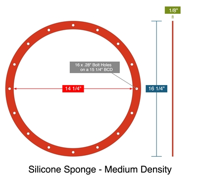 "Silicone Sponge - Firm Density - Full Face Gasket -  1/8"" Thick - per drawing 1007251"