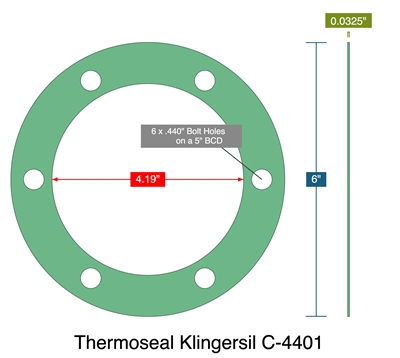 "Thermoseal Klingersil C-4401 - Full Face Gasket - 0.0325"" Thick - 4.19"" ID - 6"" OD - 6 x .440"" Holes on a 5"" Bolt Circle Diameter"