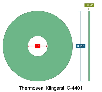 "Thermoseal Klingersil C-4401 -  1/16"" Thick - Ring Gasket - 1"" ID - 3.5"" OD"