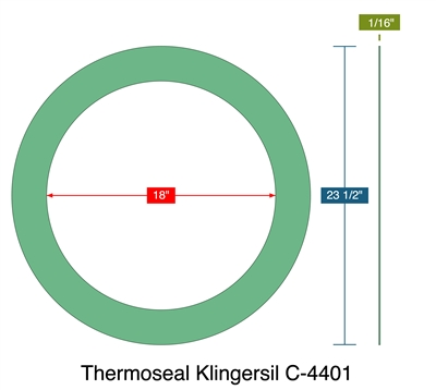 "Thermoseal Klingersil C-4401 -  1/16"" Thick - Ring Gasket - 300 Lb. - 18"""