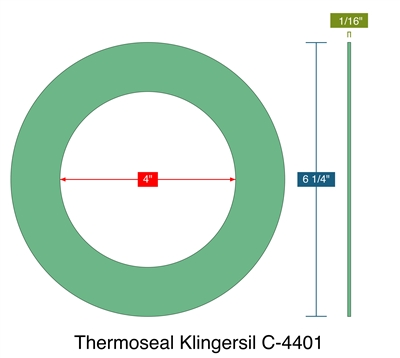"Thermoseal Klingersil C-4401 - Ring Gasket -  1/16"" Thick - 4"" ID - 6.25"" OD"