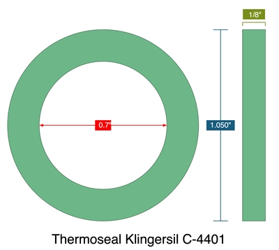 "Thermoseal Klingersil C-4401 -  1/8"" Thick - Ring Gasket - .7"" ID - 1.050"" OD"