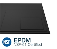 "EPDM NSF 61 Black 75 Duro - 1/8"" Thick - 48"" Wide  By the Foot"