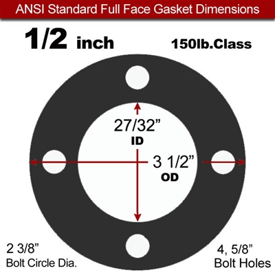 "60 Duro EPDM NSF-61 Certified- Full Face Gasket - 150 Lb. - 1/16"" Thick - 1/2"" Pipe"