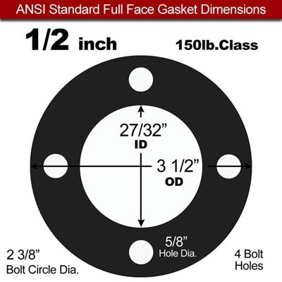 "60 Duro EPDM NSF-61 Certified- Full Face Gasket - 150 Lb. - 1/8"" Thick - 1/2"" Pipe"