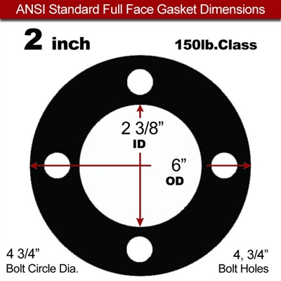 "60 Duro EPDM NSF-61 Certified Full Face Gasket - 150 Lb. - 1/8"" Thick - 2"" Pipe"