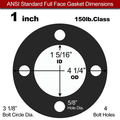 "60 Duro EPDM Full Face Gasket - 150 Lb. - 1/16"" Thick - 1"" Pipe"