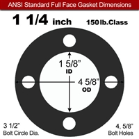 "60 Duro EPDM Full Face Gasket - 150 Lb. - 1/16"" Thick - 1-1/4"" Pipe"