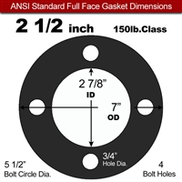 "60 Duro EPDM Full Face Gasket - 150 Lb. - 1/16"" Thick - 2-1/2"" Pipe"