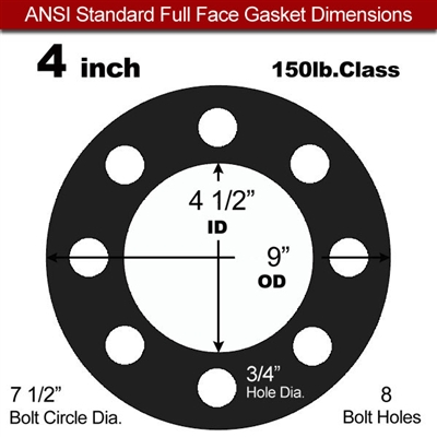 "60 Duro EPDM Full Face Gasket - 150 Lb. - 1/16"" Thick - 4"" Pipe"