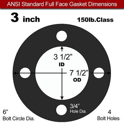"60 Duro EPDM Full Face Gasket - 150 Lb. - 1/8"" Thick - 3"" Pipe"