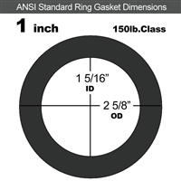 "60 Duro EPDM Ring Gasket - 150 Lb. - 1/16"" Thick - 1"" Pipe"